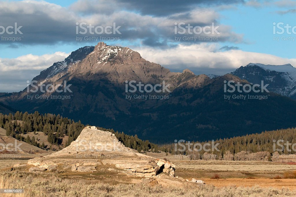 Soda Butte Lamar Valley Absoroka mountains Yellowstone National Park stock photo