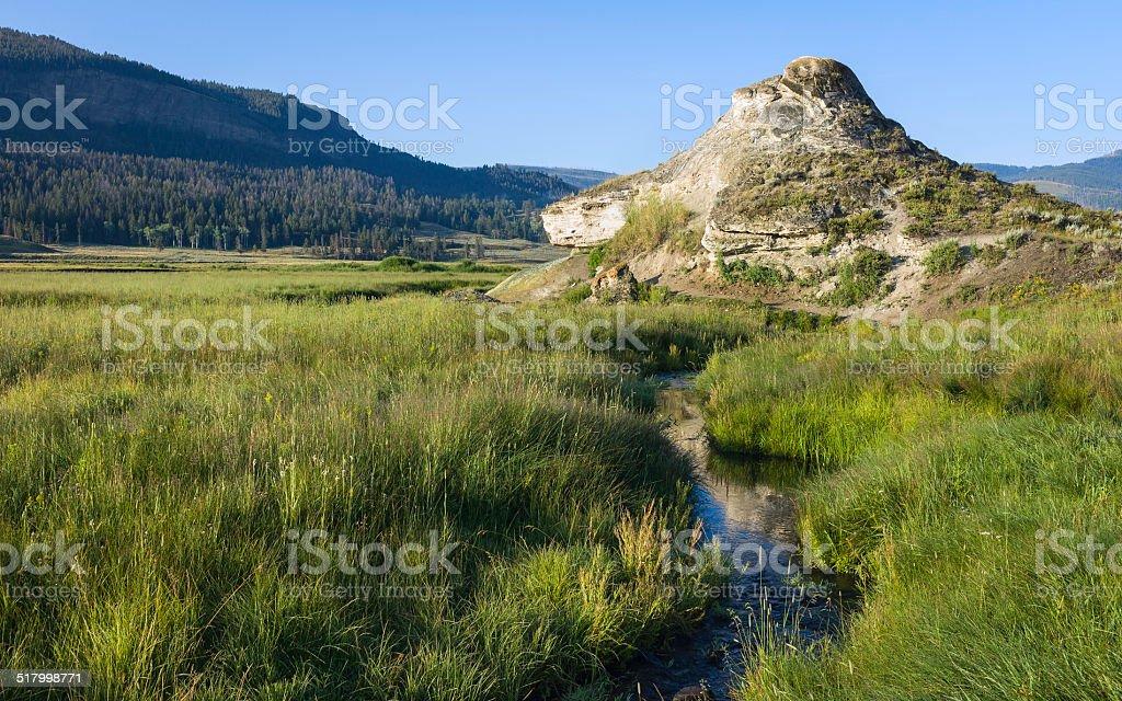 Soda Butte, travertine, Yellowstone National Park, Montana, USA. stock photo