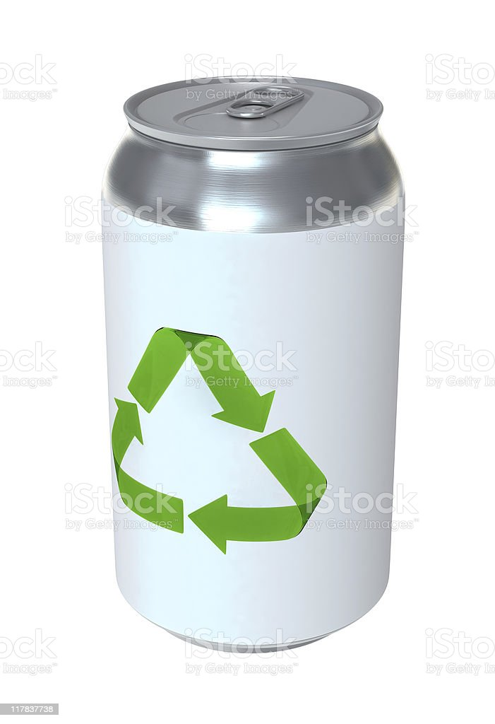 Soda Can with Recycling Symbol royalty-free stock photo