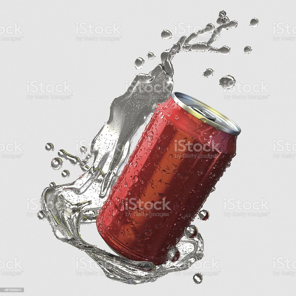 Soda can with splash stock photo
