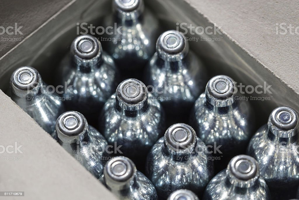 Soda chargers stock photo