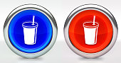 Soda Drink Icon on Button with Metallic Rim