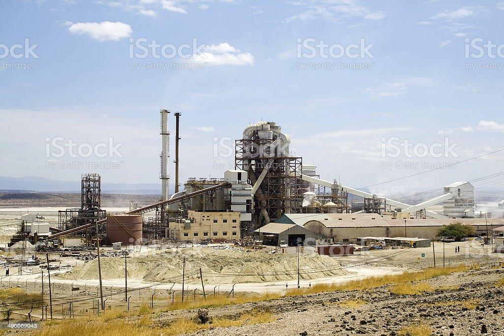 Soda factory near saline pan stock photo