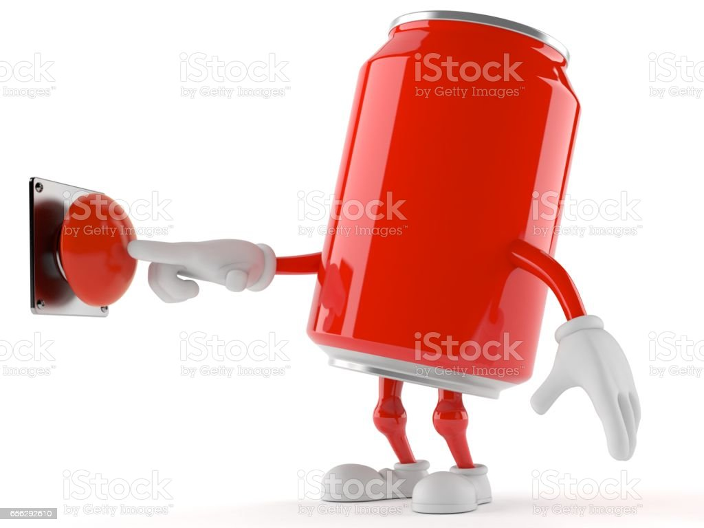 Soda toon with push button stock photo