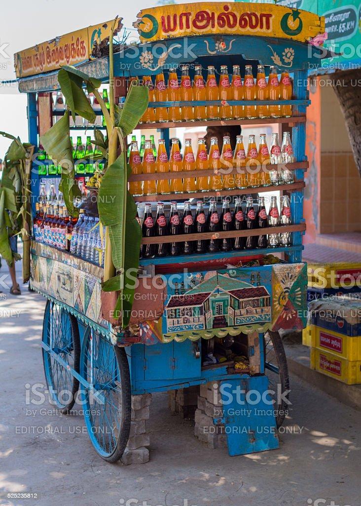 Soda vendor cart in Tanjore. stock photo