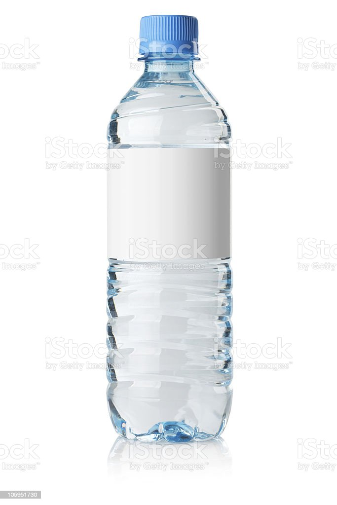 Soda water bottle with blank label stock photo