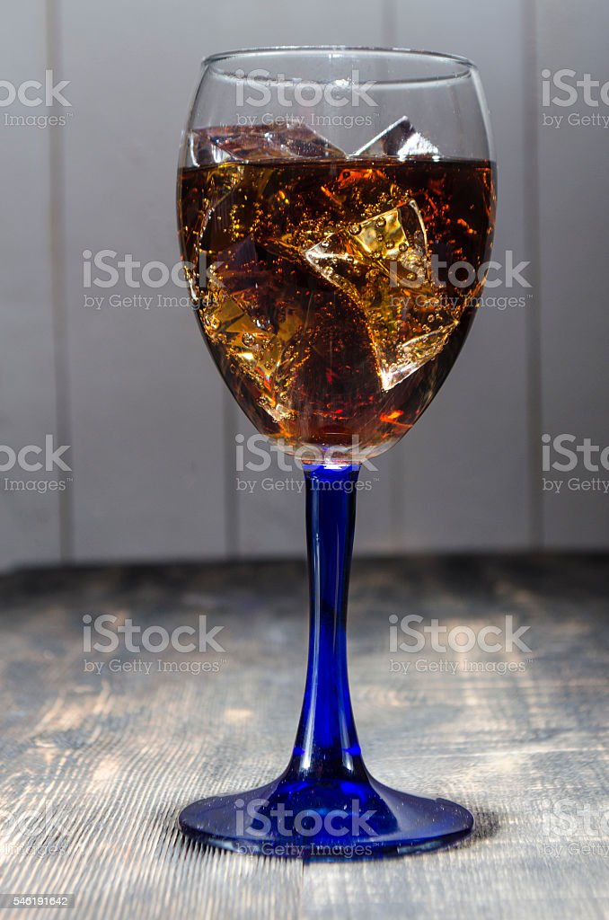 soda with ice on a white background stock photo