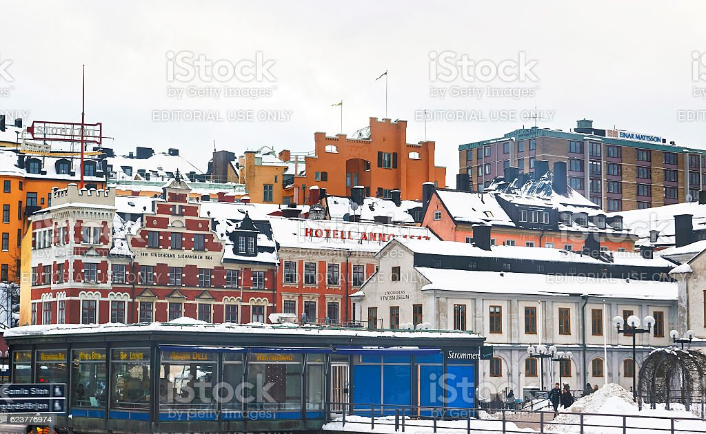 Sodermalm and Stockholm City Museum in winter stock photo