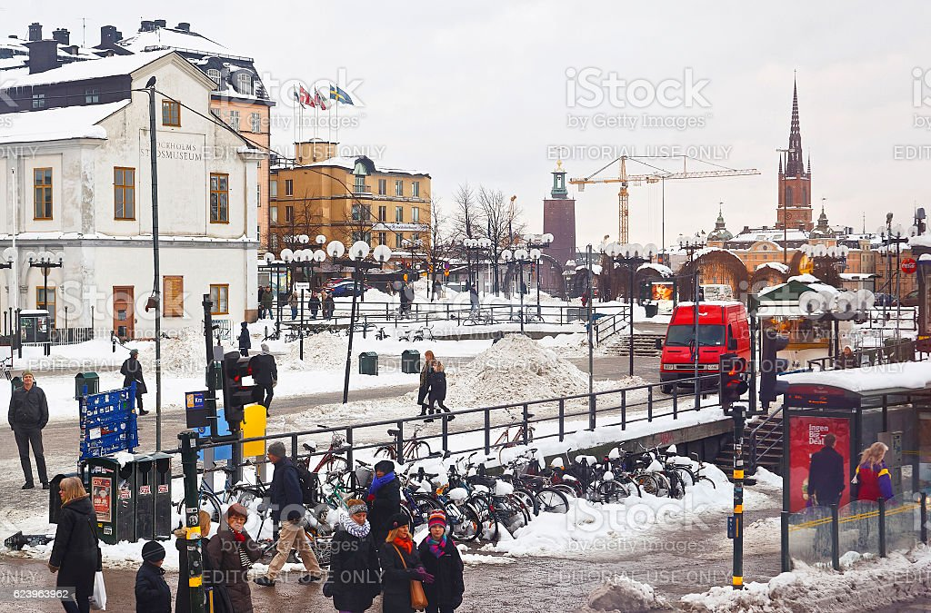 Sodermalm and view to Riddarholmen in Stockholm stock photo