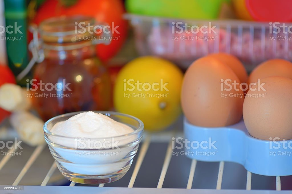 sodium bicarbonate inside of fridge stock photo