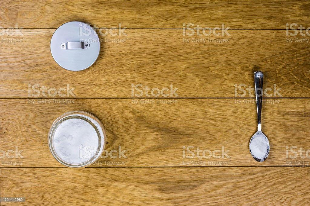 Sodium bicarbonate on wooden background stock photo