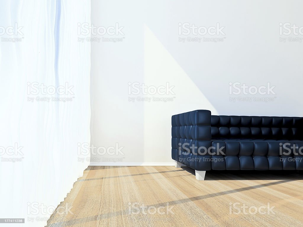 Sofa black in room with window royalty-free stock photo