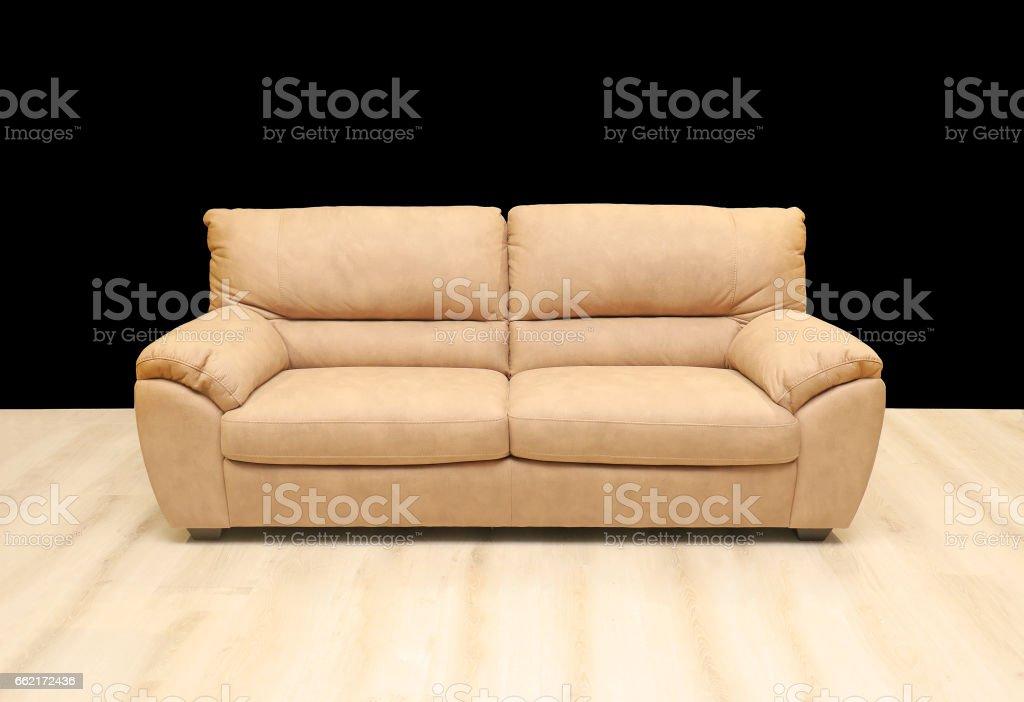 Sofa black wall stock photo