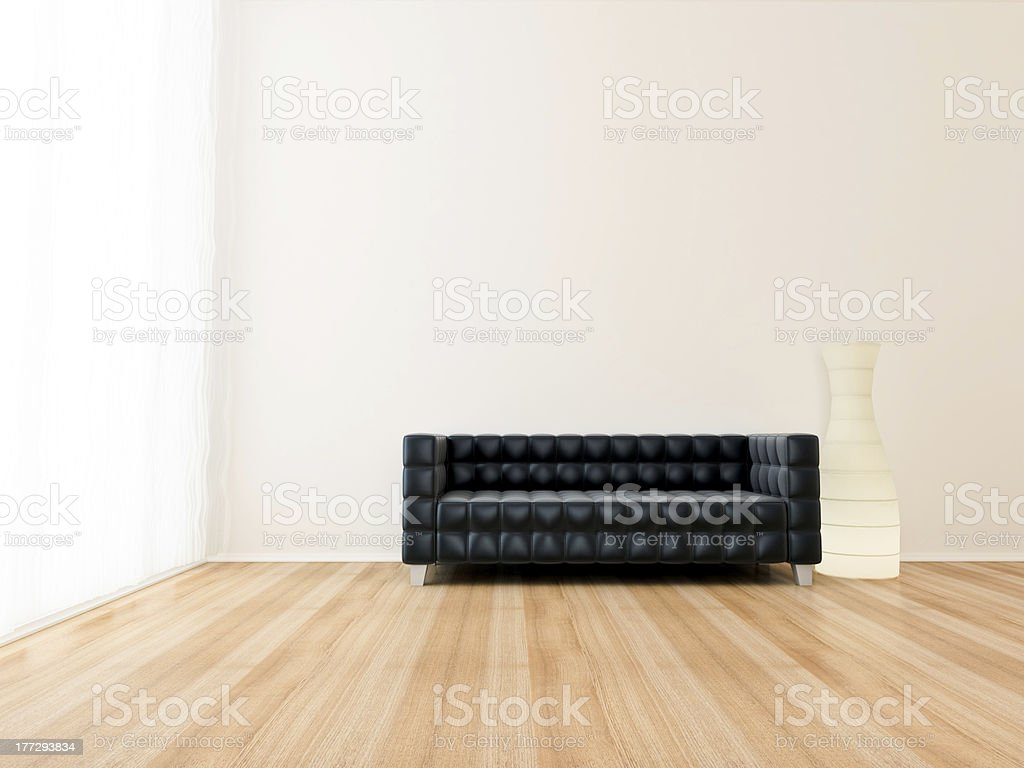 Sofa black with lamp and room royalty-free stock photo