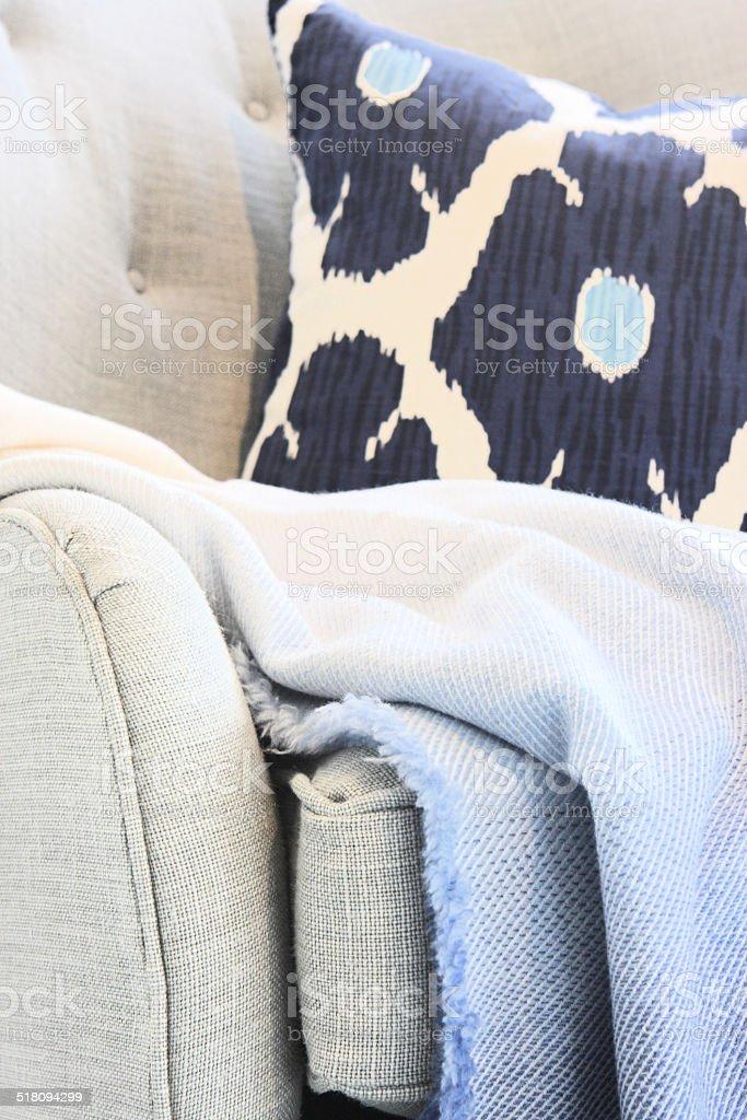 Sofa Cushion Blanket Living Room Decor stock photo