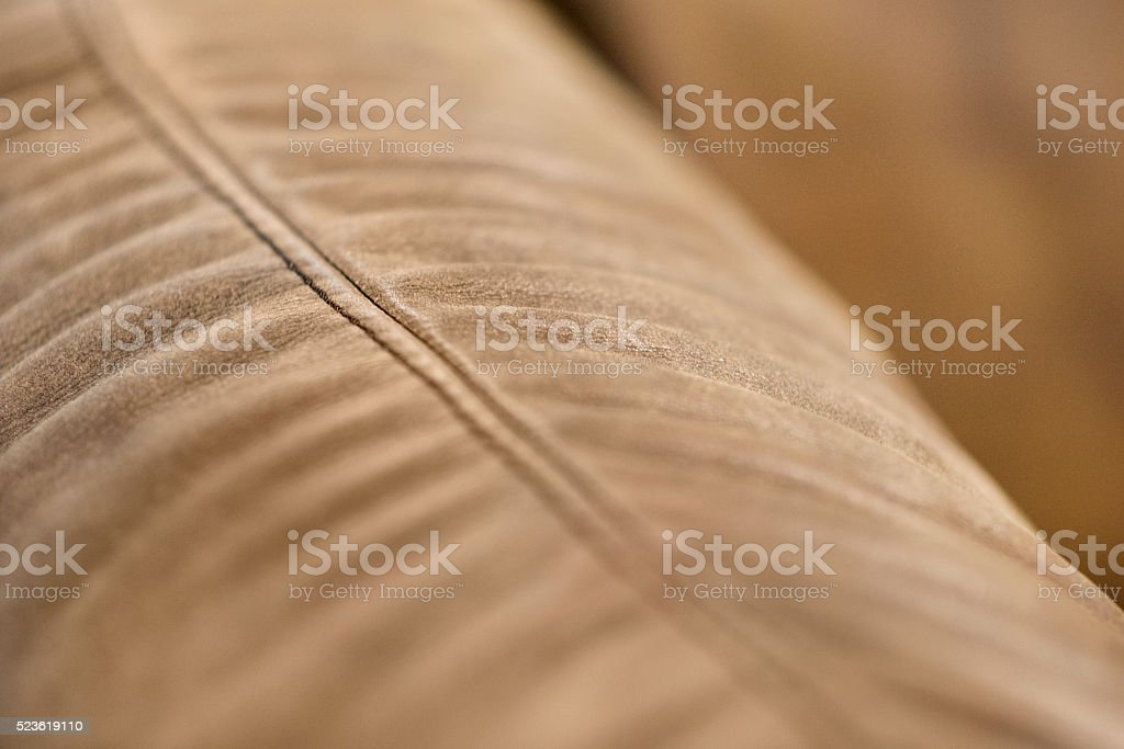 Sofa Edge Detail Texture of Brown Leather with Stitching stock photo