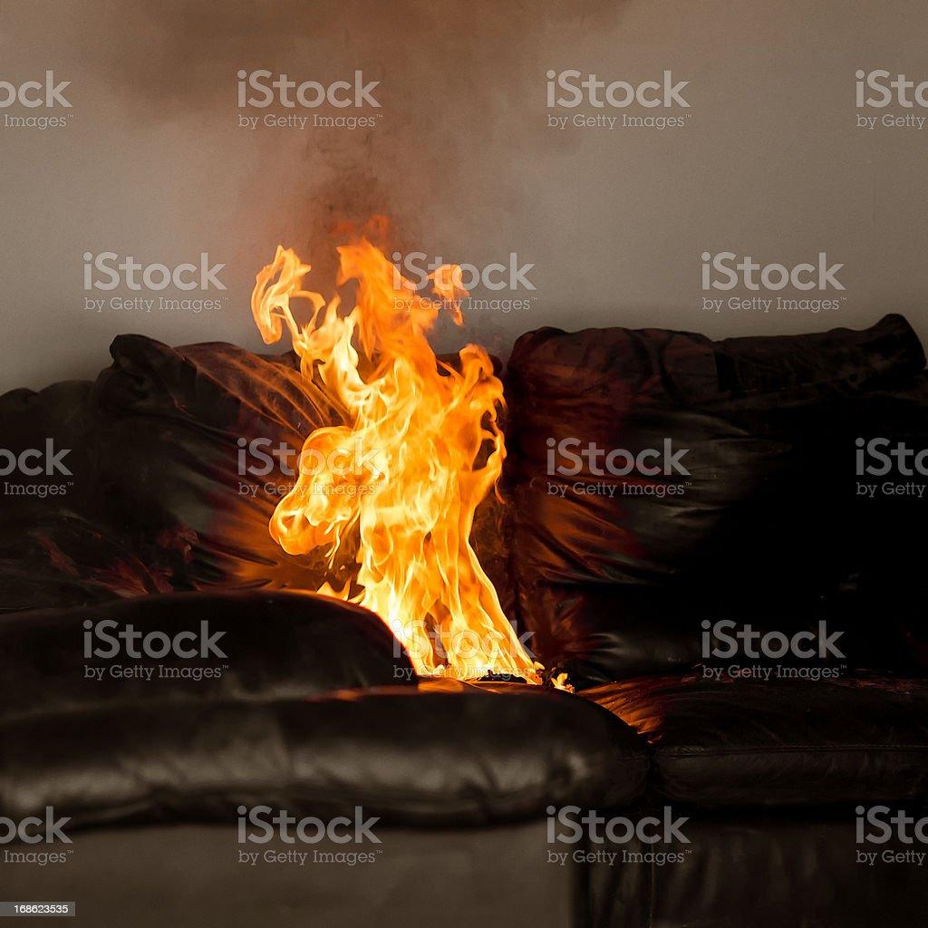Sofa Fire royalty-free stock photo