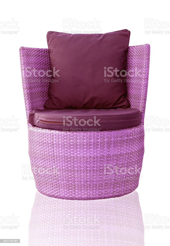 sofa furniture weave bamboo chair on white background stock photo