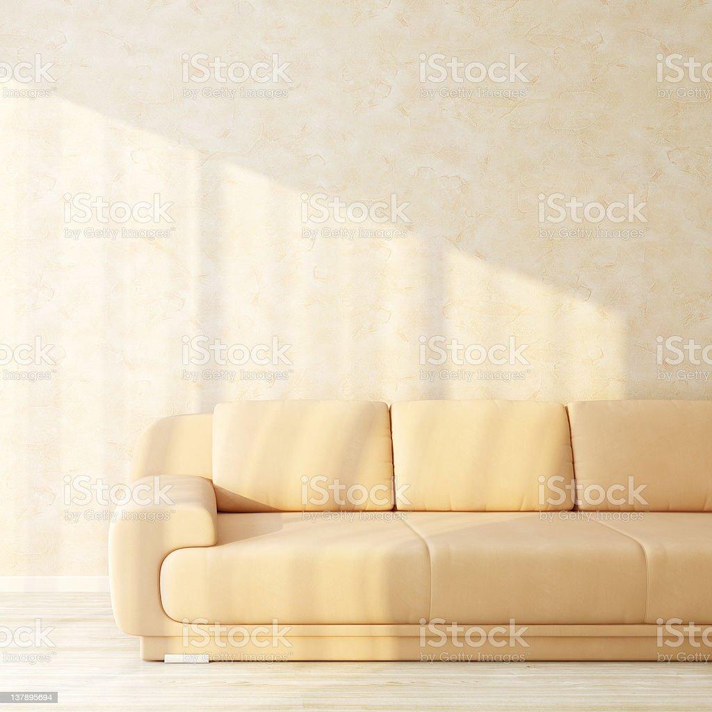 Sofa in bright sunny interior royalty-free stock photo