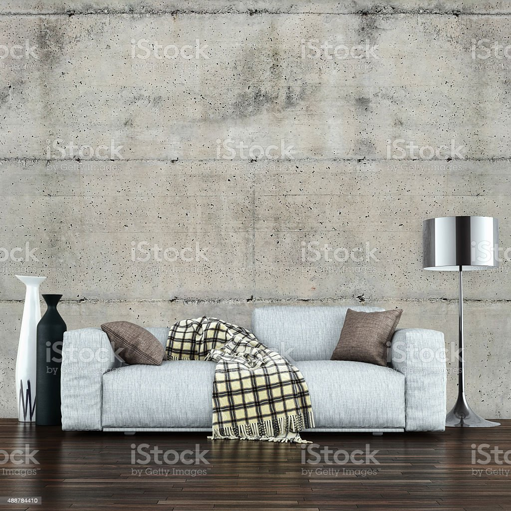 Sofa in decorated modern living room stock photo