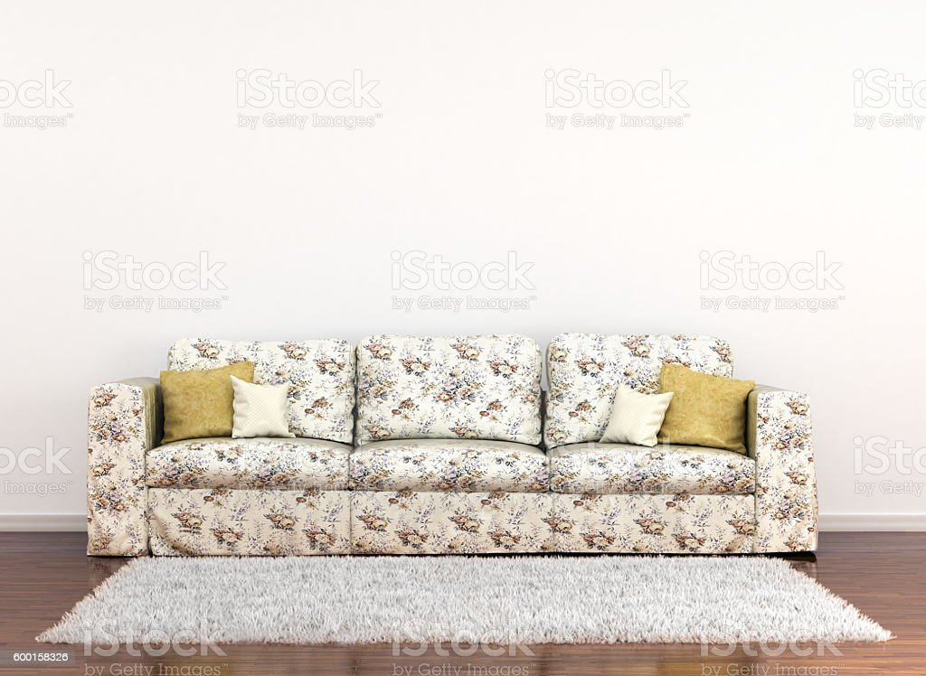 sofa in floral fabric stock photo