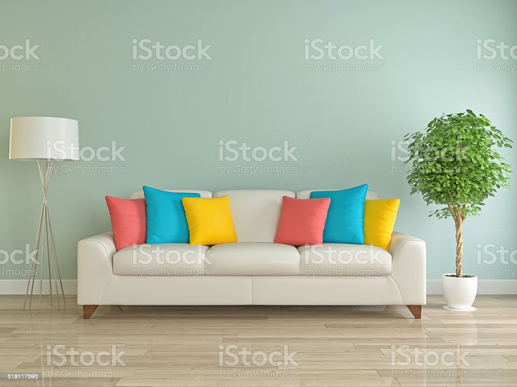 Sofa with colored pillow stock photo