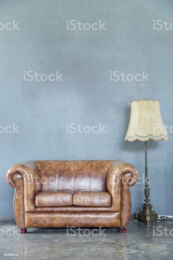 sofa with lamp stock photo