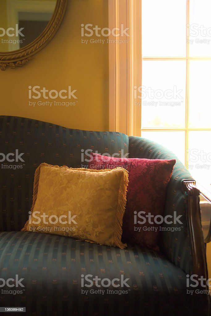 sofa with pillows royalty-free stock photo