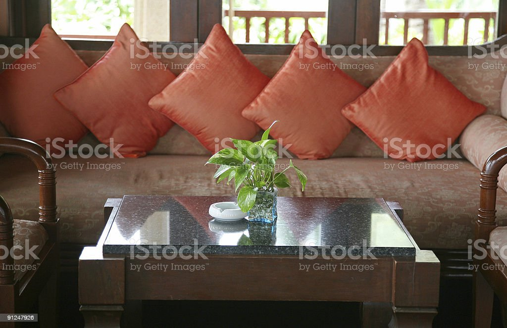 Sofa With Pink Cushions royalty-free stock photo