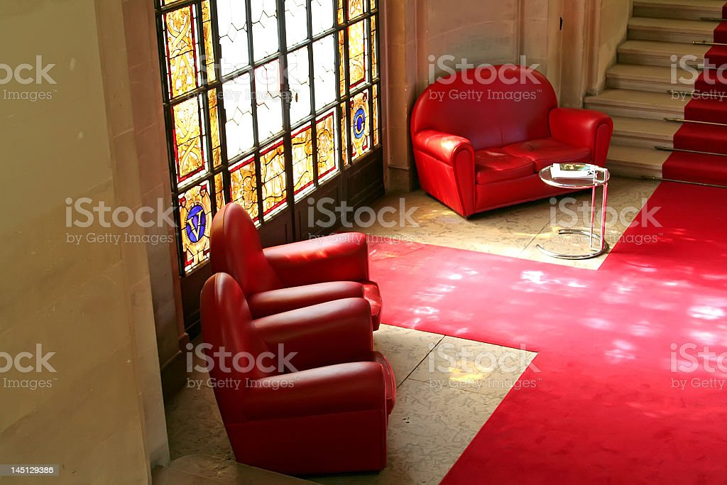 Sofas stained glass royalty-free stock photo