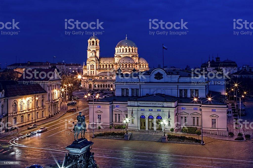 Sofia centre by night, Parliament Sq. stock photo