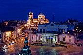 Sofia centre by night, Parliament Sq.