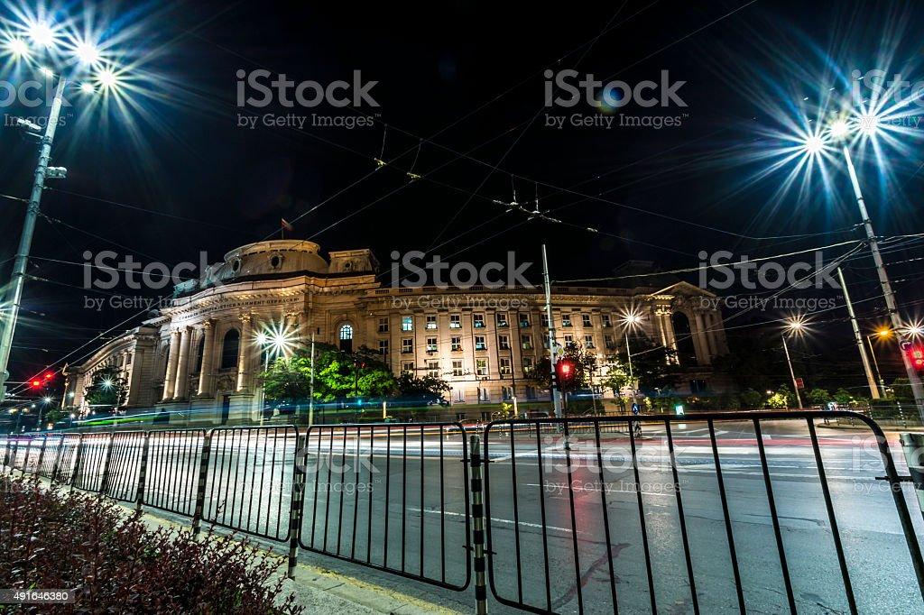Sofia university St. Kliment Ohridski at night stock photo