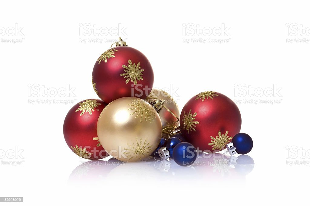 Soft and elegant Christmas baubles stock photo