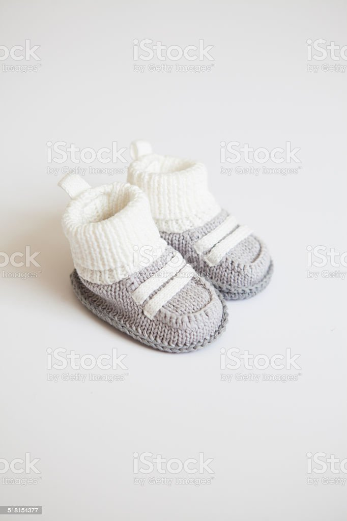 Soft Baby Boy Booties stock photo