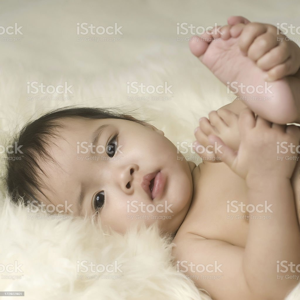 Soft baby on fur stock photo