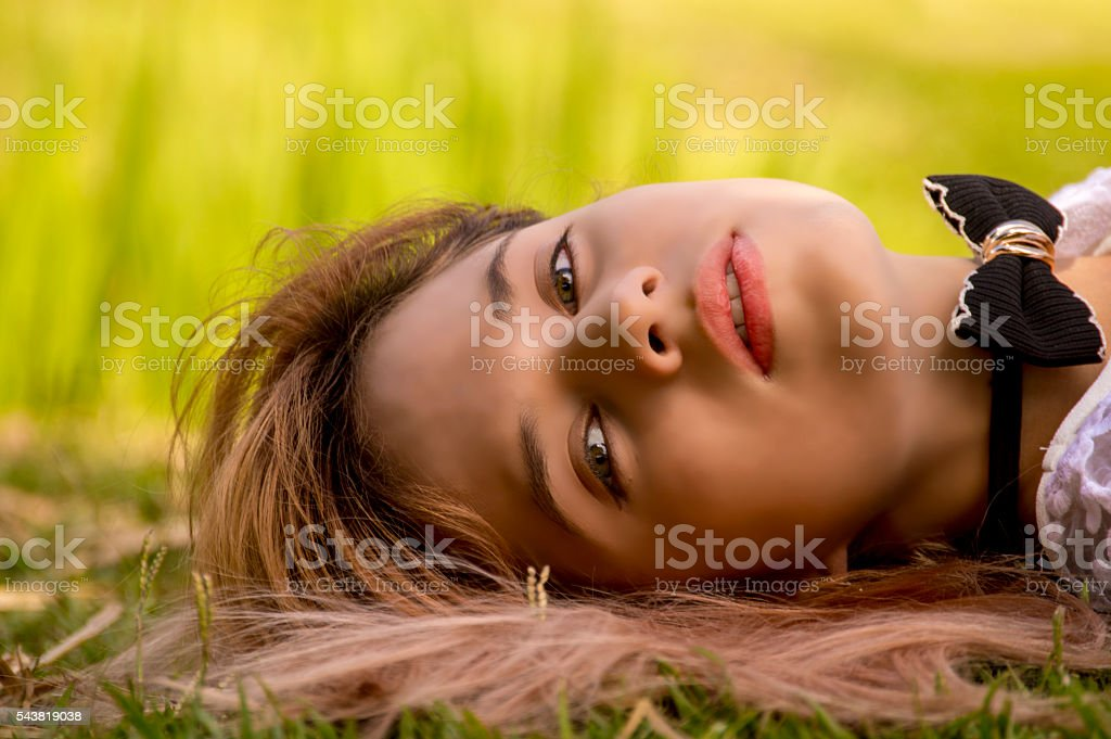 soft beauty face girl, green eyes... stock photo