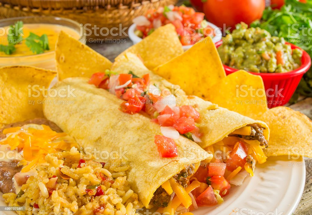 soft beef tacos stock photo