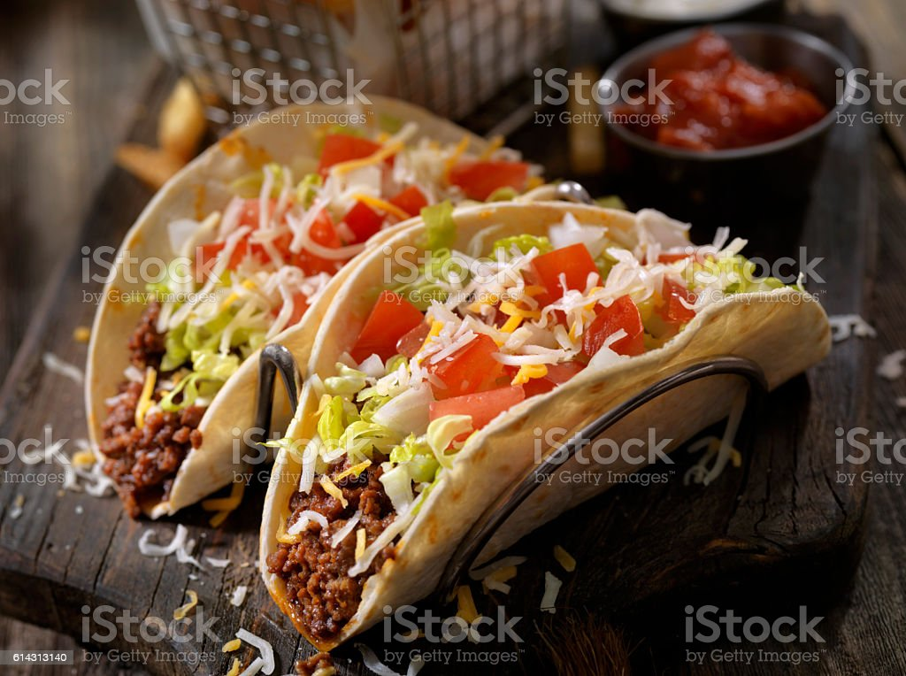 Soft Beef Tacos with Fries stock photo