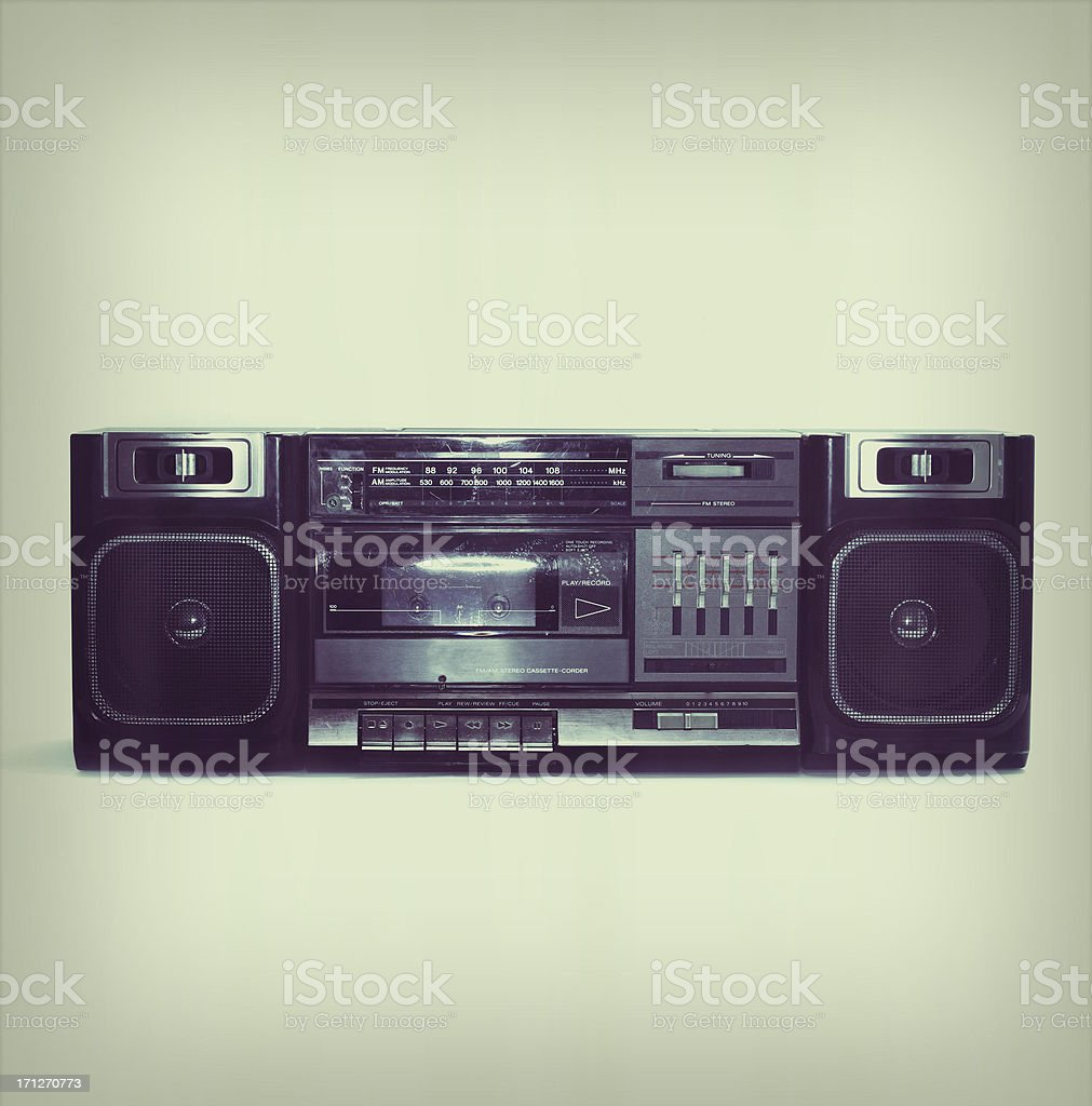 soft black boombox centered with white background and slight border stock photo
