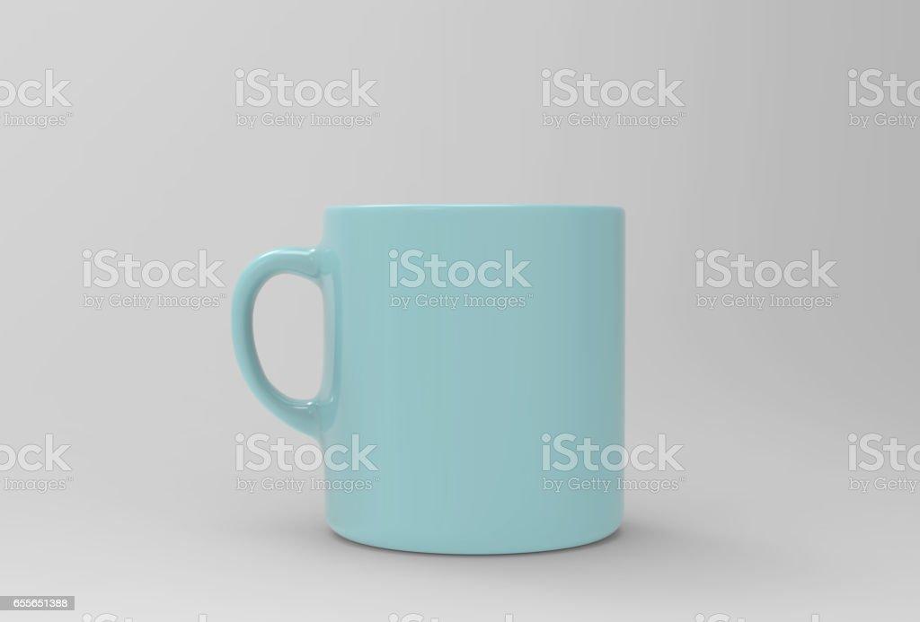 Soft blue mug mock up on soft white background. 3D illustrated stock photo