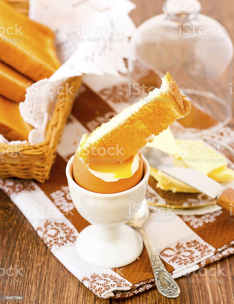 Soft boiled egg and toasts royalty-free stock photo
