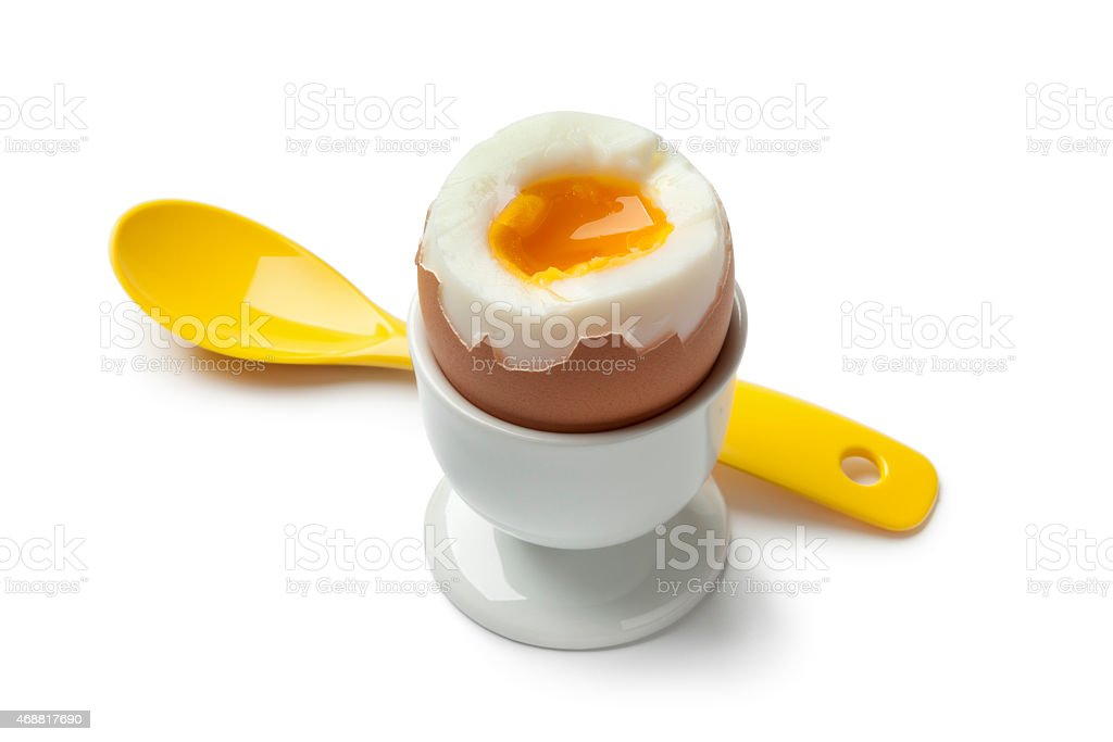 Soft boiled egg in an egg cup stock photo