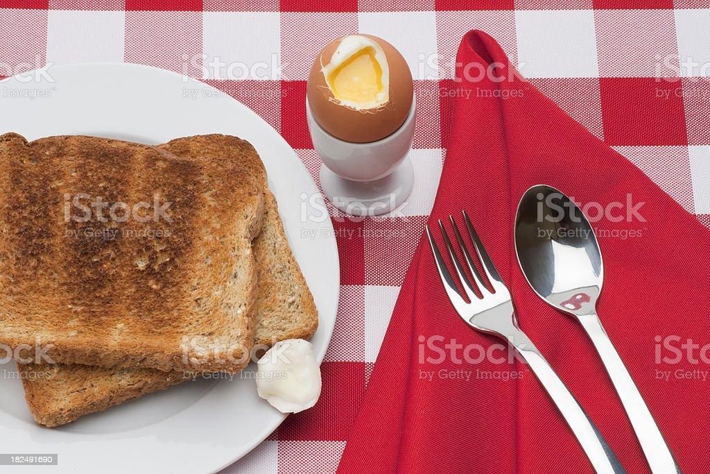 Soft Boiled Egg, Toast, Fork, Spoon Horizontal stock photo