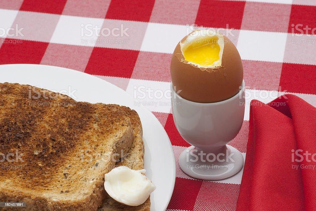Soft Boiled Egg, Toast on Table Cloth Horizontal stock photo