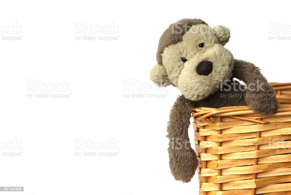 A soft brown monkey toy sitting in a basket stock photo