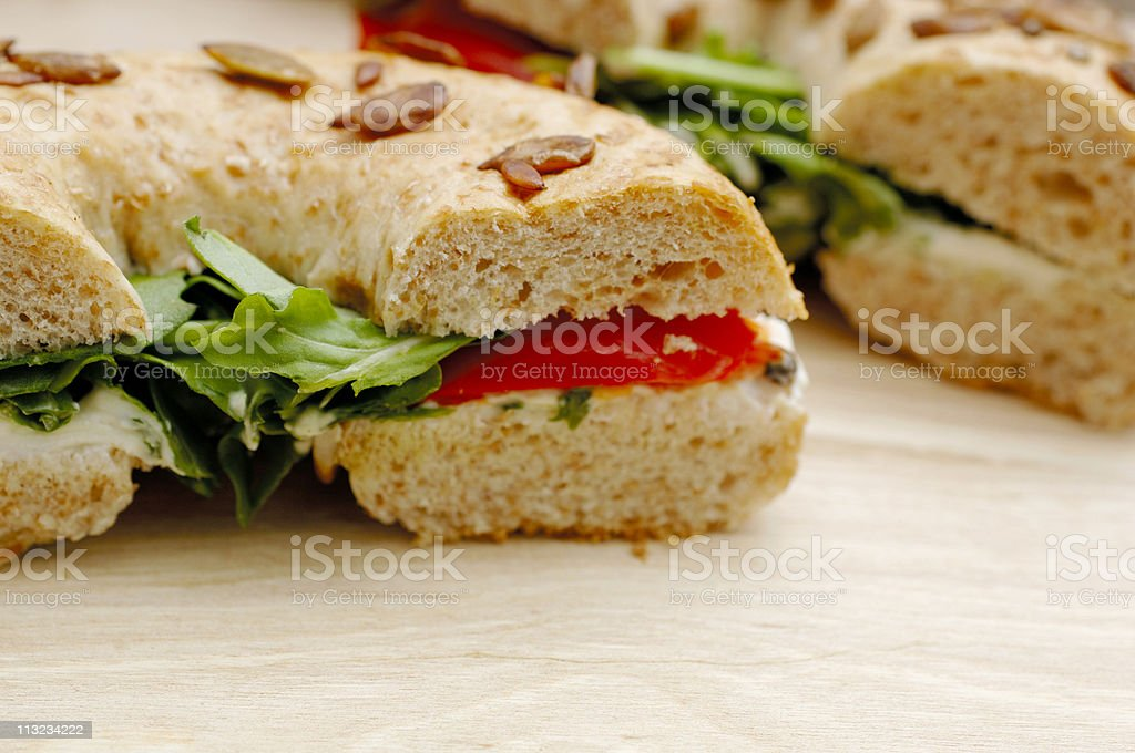 Soft cheese & roasted pepper seeded bagel, healthy eating royalty-free stock photo