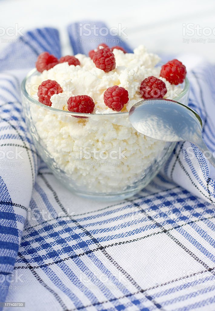 Soft cheese and raspberry stock photo