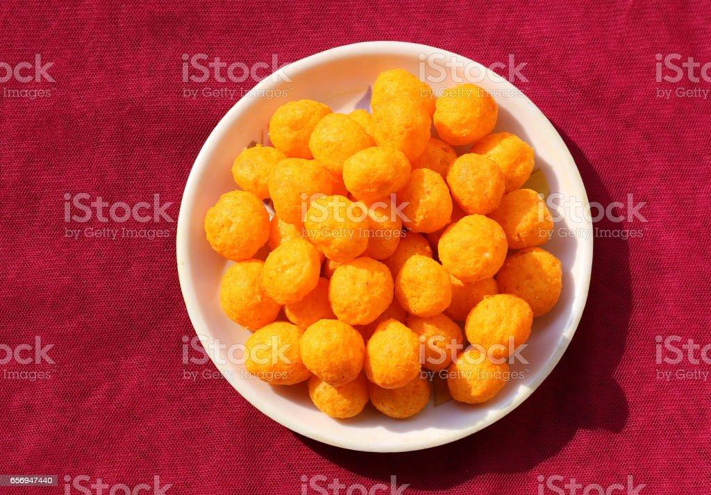 Soft cheese balls stock photo