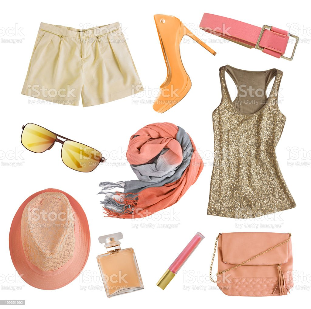 Soft colors female clothes and accessories isolated. stock photo